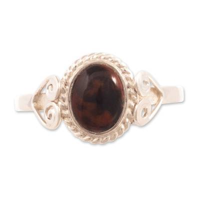 Unique Mahogany Obsidian Cocktail Ring