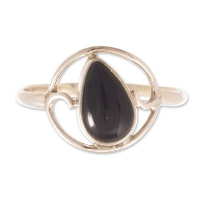 Black Obsidian and Sterling Silver Ring