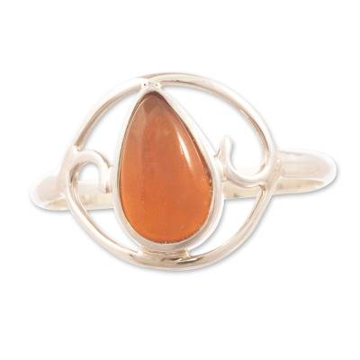 Fire opal cocktail ring, 'Universal Truth' - Unique Fire Opal Cocktail Ring from Peru