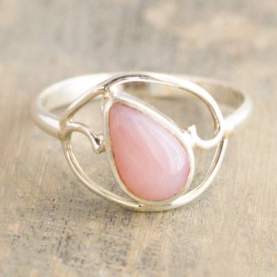 Opal cocktail ring, 'Universal Truth' - Polished Silver and Pink Opal Ring