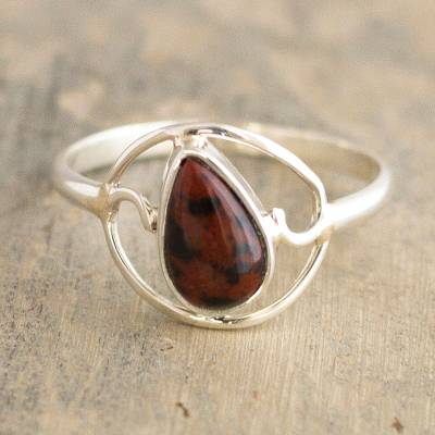 Mahogany obsidian cocktail ring, Universal Truth