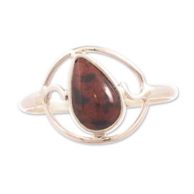 Hand Crafted Mahogany Obsidian Ring