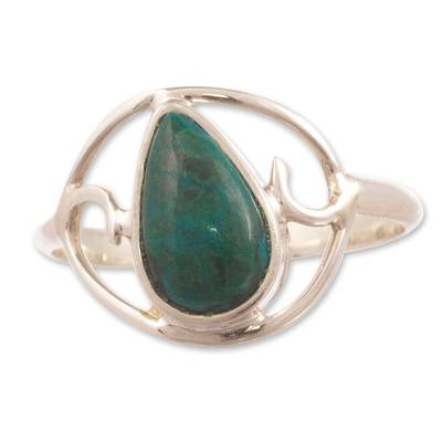 Chrysocolla cocktail ring, 'Universal Truth' - Sterling Silver and Chrysocolla Ring