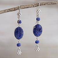 Sodalite dangle earrings, 'Impulse' - Artisan Crafted Sodalite Earrings
