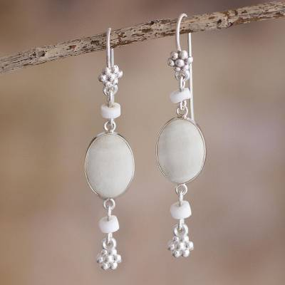Onyx dangle earrings, 'Impulse' - White Onyx Dangle Earrings from Peru