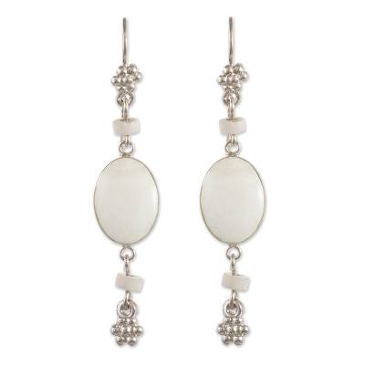 Onyx dangle earrings, 'Impulse' - White Onyx Dangle Earrings from Peru