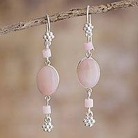 Opal dangle earrings, 'Impulse' - Pink Opal and Andean Silver Earrings