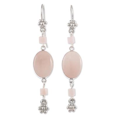 Opal dangle earrings, 'Impulse' - Pink Opal and Andean Silver Earrings