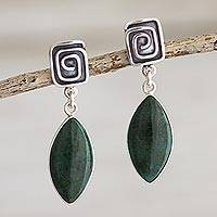Chrysocolla dangle earrings, 'Amazing' - Sterling Silver Chrysocolla Dangle Earrings