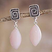 Opal dangle earrings, 'Amazing' - Natural Pink Opal Earrings from Peru