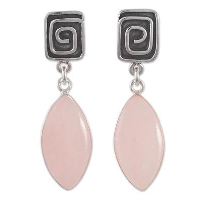 Opal dangle earrings, 'Amazing' - Natural Pink Opal Earrings from Peru