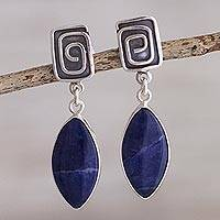 Sodalite dangle earrings, 'Amazing' - Artisan Crafted Sodalite Dangle Earrings