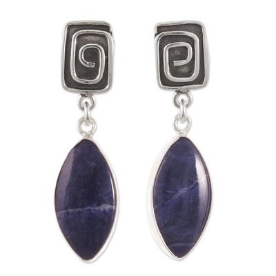 Sodalite dangle earrings, 'Amazing' - Artisan Crafted Sodalite Dangle Earrings