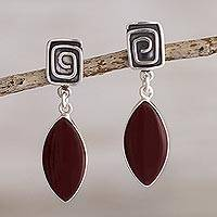 Jasper dangle earrings, 'Amazing' - Russet Jasper and Sterling Silver Earrings
