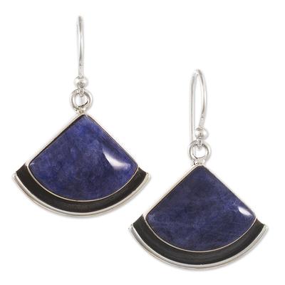 Sodalite dangle earrings, 'Expression' - Handmade Sodalite Dangle Earrings