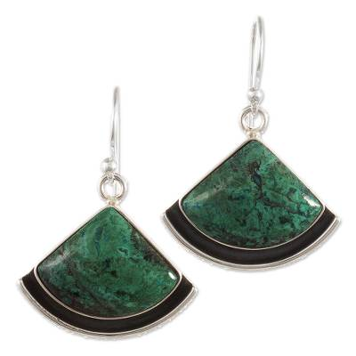 Chrysocolla dangle earrings, 'Expression' - Sterling Silver and Chrysocolla Earrings