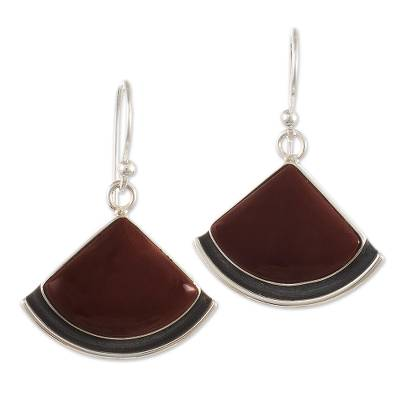 Jasper dangle earrings, 'Expression' - Dangle Earrings with Red Jasper