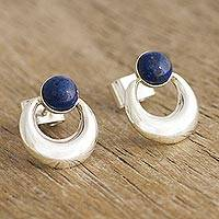Lapis lazuli drop earrings, 'Crowned Crescent' - Contemporary Lapis Lazuli Drop Earrings