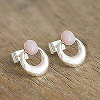 Opal drop earrings, 'Crowned Crescent' - Handmade Pink Opal Earrings from Peru