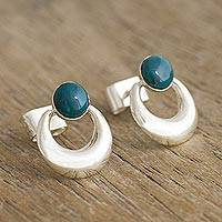 Chrysocolla drop earrings, 'Crowned Crescent' - Handmade Chrysocolla Drop Earrings