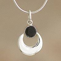 Obsidian pendant necklace, 'Crowned Crescent' - Artisan Crafted Obsidian Pendant Necklace