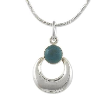 Sterling SIlver Crescent Necklace with Chrysocolla