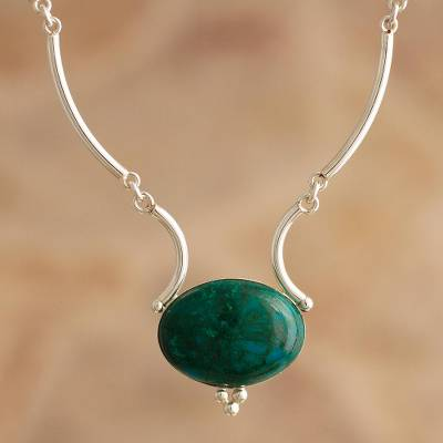 Chrysocolla pendant necklace, 'Mystical Energy' - Artisan Crafted Chrysocolla Pendant Necklace