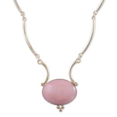 Opal pendant necklace, 'Mystical Energy' - Pink Opal and Sterling Silver Necklace