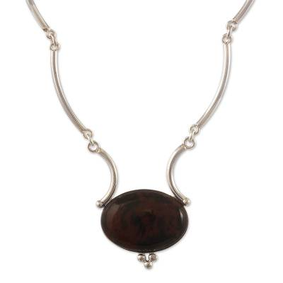 Mahogany obsidian pendant necklace, 'Mystical Energy' - Handmade Mahogany Obsidian Pendant Necklace