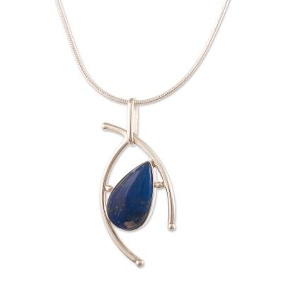 Lapis lazuli pendant necklace, 'Outlook' - Contemporary Lapis Lazuli and Sterling Silver Necklace