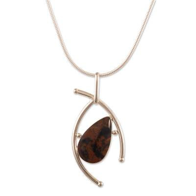 Mahogany obsidian pendant necklace, 'Outlook' - Unique Mahogany Obsidian Pendant Necklace