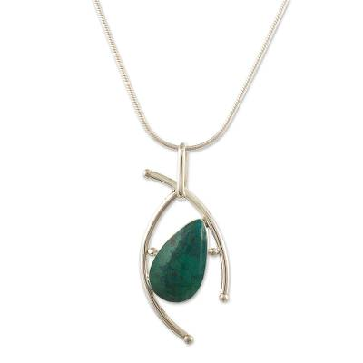 Chrysocolla pendant necklace, 'Outlook' - Handmade Chrysocolla Pendant Necklace