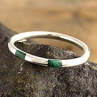 Chrysocolla bangle bracelet, 'Inside Story'