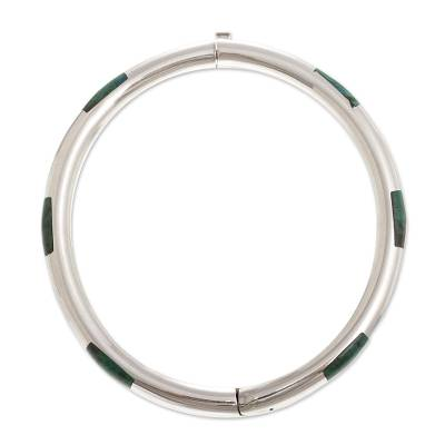 Chrysocolla bangle bracelet, 'Inside Story' - Polished Sterling Silver Bangle with Chrysocolla