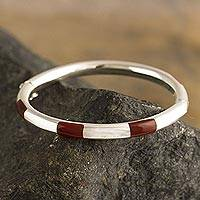 Jasper bangle bracelet, 'Inside Story' - Inlaid Red Jasper Bangle Bracelet from Peru