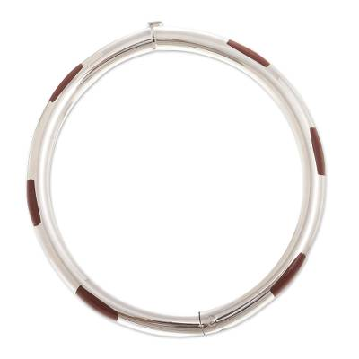Jasper bangle bracelet, 'Inside Story' - Inlaid Red Jasper Bangle Bracelet from Peru