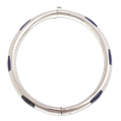 Sodalite bangle bracelet, 'Inside Story' - Contemporary Sodalite Bangle Bracelet