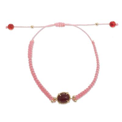 Pink Macrame Bracelet with Carnelian