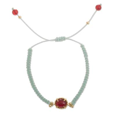 Aqua Macrame Carnelian Bracelet with 24k Gold