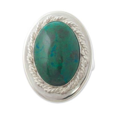 Chrysocolla cocktail ring, 'Cachet' - Natural Chrysocolla and Sterling Silver Ring