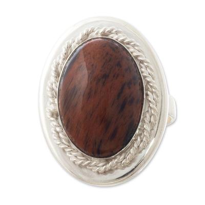 Unique Mahogany Obsidian Ring