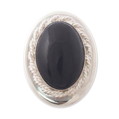 Black Obsidian Single-Stone Ring