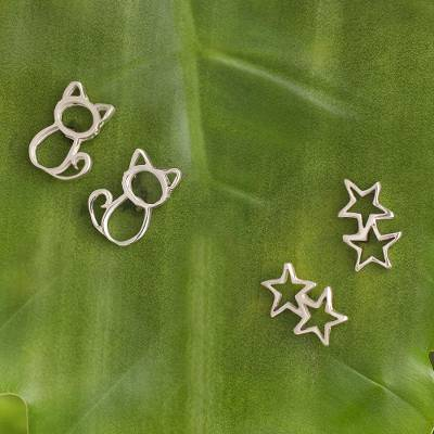 Sterling silver stud earrings, 'Cats and Stars' (pair) - Sterling Silver Stud Earrings with Cats and Stars (Pair)
