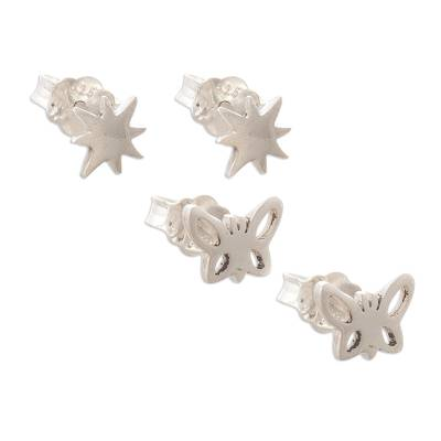 Sterling silver stud earrings, 'Butterflies and Suns' (pair) - Hand Crafted Stud Earrings with Suns and Butterflies (Pair)
