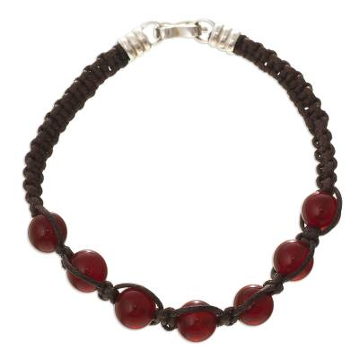 Carnelian beaded macrame bracelet, 'Allegro' - Artisan Crafted Carnelian Macrame Bracelet