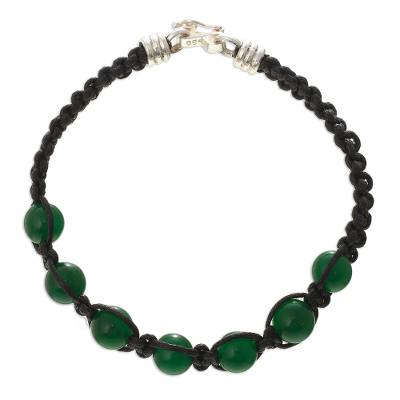 Agate beaded macrame bracelet, 'Allegro' - Green Agate Macrame Wristband Bracelet