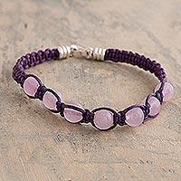 Rose quartz beaded macrame bracelet, 'Allegro' - Purple Macrame Bracelet with rose Quartz