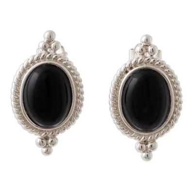 Onyx drop earrings, 'Legato' - Classic Black Onyx Button Earrings