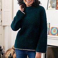 Alpaca blend funnel neck sweater, 'Sumptuous Warmth in Teal' - Funnel Neck Alpaca Blend Sweater in Dark Teal