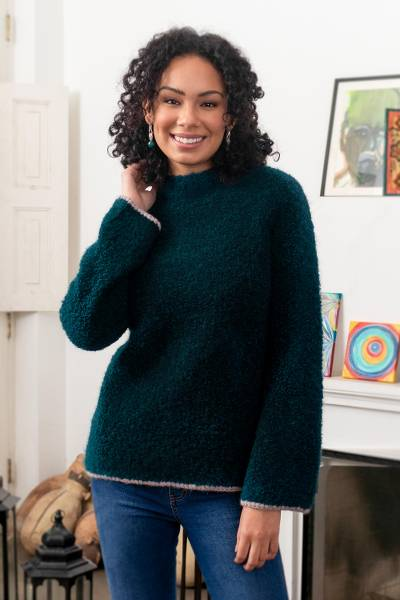 Alpaca blend funnel neck sweater, Sumptuous Warmth in Teal